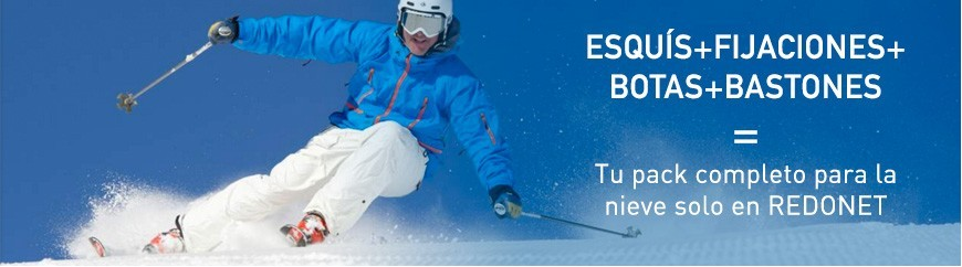 Tu pack completo para la nieve solo en Redonet: esquís, fijaciones, botas y bastones.